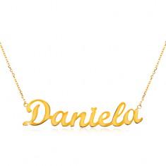 Colier din aur galben de 14K - lanț subțire, pandantiv cu numele Daniela
