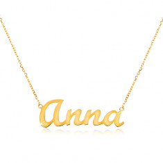 Colier ajustabil din aur de 14K, cu numele Anna, lanț subțire