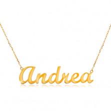 Colier din aur galben de 14K - lanț subțire, inscripție Andrea