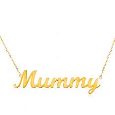 Colier din aur galben de 14K - lanț subțire, pandantiv - Mummy