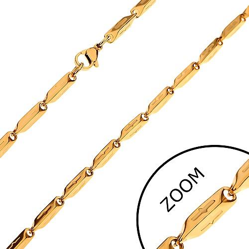 Bijuterii eshop - Lanţ auriu din oţel chirurgical, zale teşite cu crestături, 3 mm Z32.04