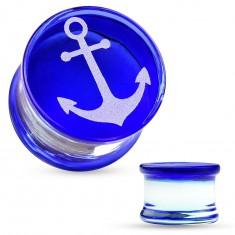 Plug pentru ureche sub formă de şa, realizat din sticlă pyrex, cu ancoră pe bază albastră