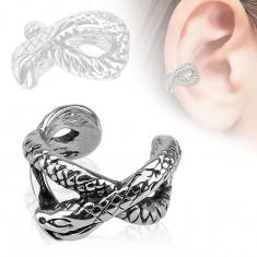 Piercing fals pentru tragusul urechii, din oţel de 316L, şarpe patinat
