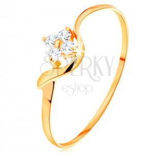 Inel din aur de 14K - floare din diamante transparente, braţ ondulat