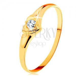 Inel din aur 585 - inimă strălucitoare cu diamant rotund, în montură