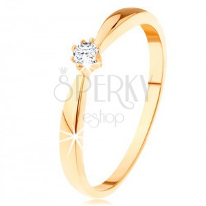 Inel din aur galben de 14K - brațe rotunjite, diamant rotund și transparent