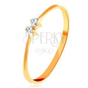 Inel cu diamant, din aur 585 - braţe subţiri, două diamante transparente şi strălucitoare