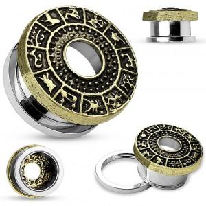 Tunel auriu pentru ureche, din oțel chirurgical, semne zodiacale patinate
