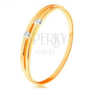Inel cu diamante, din aur 585 - brațe cu decupaje înguste și diamante