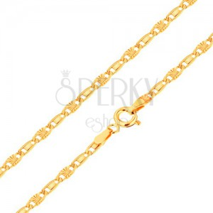Lanț realizat din aur galben de 14K, zale netede și cu raze, 450 mm