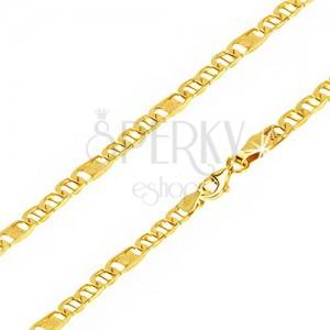 Lanț aur 14K - ochiuri ovale cu pivot, za cu plasă, 500 mm