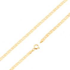Lanț din aur galben 14K - zale mai mari plate, caneluri, dreptunghi, 550 mm