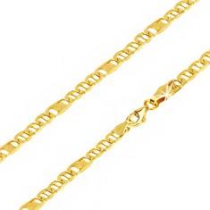 Lanț aur 14K - ochiuri ovale cu pivot, za cu plasă, 550 mm