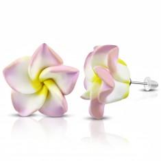 Cercei din fimo, floare roz cu alb cu centru galben