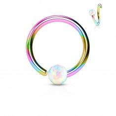 Piercing din oțel inoxidabil, cerc lucios în culorile curcubeului cu bilă din opal sintetic