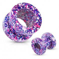 Tunel pentru ureche din oţel de 316L, stropit cu violet, roz, albastru şi alb