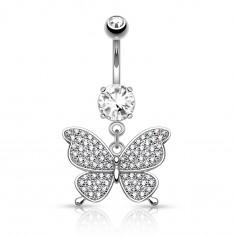 Piercing argintiu pentru buric, din oţel, fluture, zirconii transparente