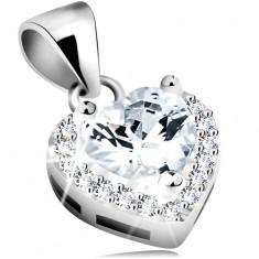 Pandantiv din argint 925, inimă cu zirconiu şi margine strălucitoare