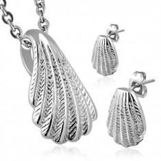 Set argintiu din oțel chirurgical - cercei și pandantiv în formă de scoică