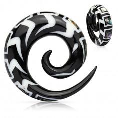 Expander spiralat pentru ureche din material organic, cu model și fragmete de scoică