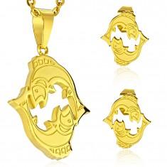 Set auriu din oțel 316L - pandantiv și cercei, semn zodiacal PEȘTI
