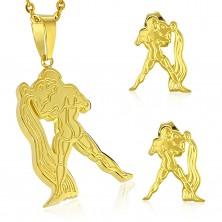 Set auriu din oțel 316L - pandantiv și cercei, semn zodiacal VĂRSĂTOR