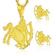Set auriu din oțel 316L - pandantiv și cercei, semn zodiacal SĂGETĂTOR