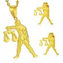 Set auriu din oțel 316L - pandantiv și cercei, semn zodiacal BALANȚĂ