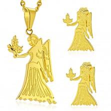 Set auriu din oțel 316L - pandantiv și cercei, semn zodiacal FECIOARĂ
