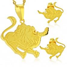 Set auriu din oțel 316L - pandantiv și cercei, semn zodiacal LEU