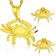 Set auriu din oțel 316L - pandantiv și cercei, semn zodiacal RAC