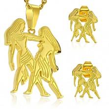 Set auriu din oțel 316L - pandantiv și cercei, semn zodiacal GEMENI