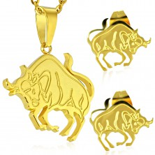 Set auriu din oțel 316L - pandantiv și cercei, semn zodiacal TAUR