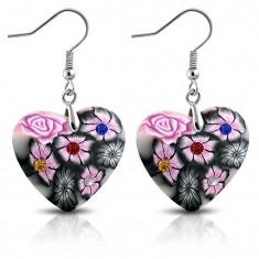 Cercei din FIMO, inimă gri cu flori roz și zirconii