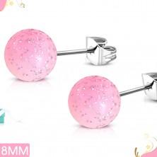 Cercei cu şurburi, din oţel,  bile acrilice roz deschis cu sclipici