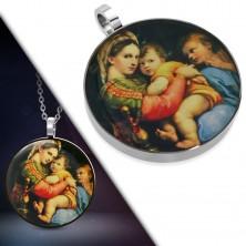 Pandantiv din oţel de 316L - imagine rotundă a Sfintei Maria cu copil în braţe