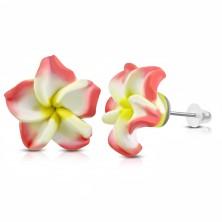 Cercei din FIMO, floare roz-alb cu mijloc galben, șuruburi