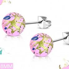 Cercei din oţel chirurgical, bile acrilice roz cu pete colorate şi linii