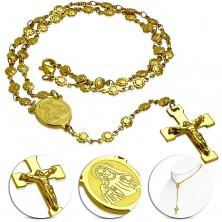 Colier auriu din oțel - rozariu cu medalion cu Fecioara Maria și cruce