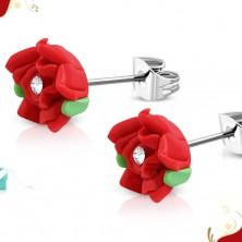 Cercei din oțel cu șurub, trandafir roșu din FIMO, zirconiu transparent în mijloc