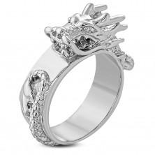Inel argintiu masiv din oțel, dragon chinezesc proeminent și lucios