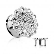 Tunel pentru ureche din oțel, floare decupată filigranată, zirconii transparente