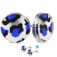 Cercei cu şuruburi din oţel de 316L, cerc din acril cu print de leopard albastru-negru