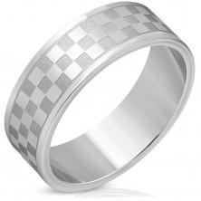 Inel argintiu din oţel - pătrate mate şi lucioase, 8 mm