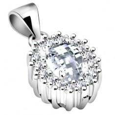 Pandantiv din argint 925, oval transparent cu zirconiu şi contur lucios, placat cu rodiu