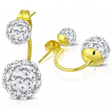 Cercei aurii  din oţel, două bile Shamballa cu zirconii transparente