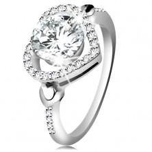 Inel din argint 925, zirconiu mare şi transparent în contur de inimă strălucitoare