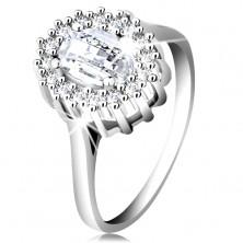 Inel de logodnă din argint 925, zirconiu oval, şlefuit, margine compusă din zirconii mici