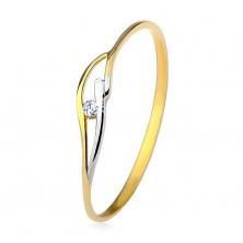 Inel din aur galben şi alb de 9K, braţe subţiri şi valuri, zirconiu transparent