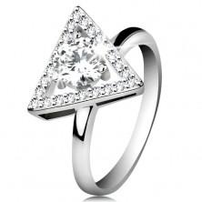 Inel din argint 925 - contur triunghi cu zirconii, zirconiu transparent în mijloc